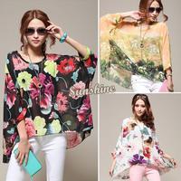 2014 New Hot!!!European Style Women Chiffon Overall Batwing-sleeve Ink Flower Print Tops Suncare Shirt Plus Size B2 19843