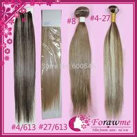 Forawme mix color#4/613 #27/613  hair weaves brazilian hair straight  hair mixed lengths 3 pcs lot Human hair straight