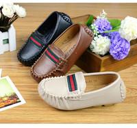 Boy children shoes tan black beige color flexible rubber sole pu leather boy shoes moccasin loafers