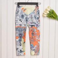 Women New Fashion 2014 Summer Spring Colorful Print Legging Pants Sport Leggings Fitness Clothing For Women SV000672#006
