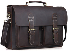 Hotsale Laptop Handbag Mens Briefcase Shoulder Bag Dark Gray Vintage Leather TIDING 1061