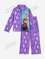 Frozens Kids Pajama Set Elsa Anna Princess Clothing Sets  Long Sleeve Clothing Snow Queen Nightie/Pyjamas NEW 2014