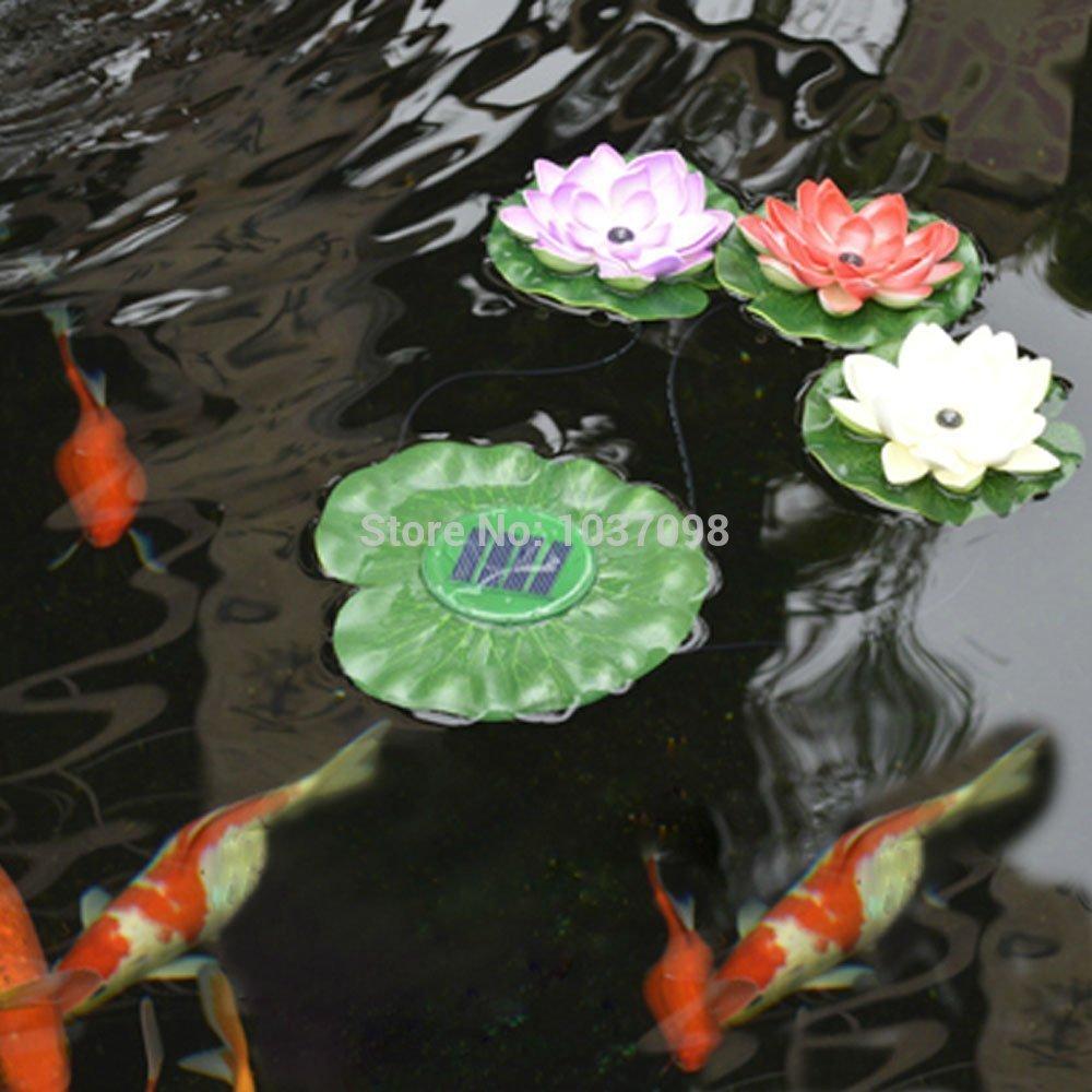 A prueba de agua solar flotante LED Luz de Lotus , Flor de Noche Lu00e1mpara Yard estanque de jardu00edn ...