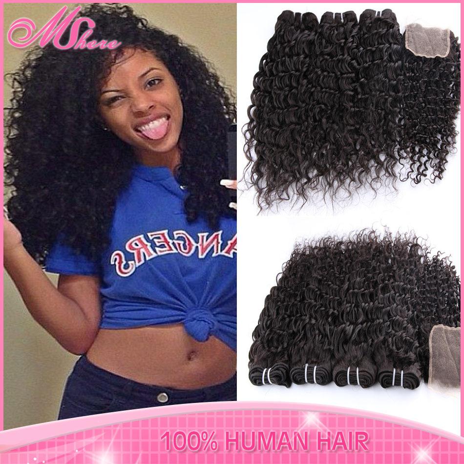 Virgin Brazilian curly hair Free part Lace closure with 3pcs Human Hair Bundle Rosa Hair Product Deep Wave Brazilian Virgin Hair(China (M