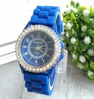 2014 hot sale Candy Colors Geneva Crystal quartz Watch women Jelly Gel Silicon Girl luxury brand relogio feminino WristWatch