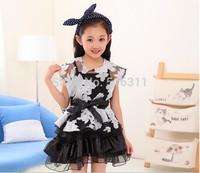 wholesale 2014 summer girl child organza puff skirt dress twinset dress fashion family set  free shipping H183