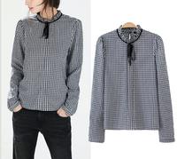 Blusas Femininas 2015 Women Shirts Vintage Shirt Plaid Print OL Blouses Long-Sleeve Stand Lace Collar Ladies' Casual Brand Tops