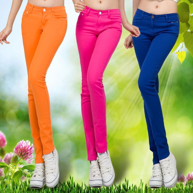 2015spring casual pants multicolour candy color skinny pants pencil pants women's jeans Pants & Capris(China (Mainland))