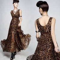 2014 ultralarge V-neck leopard print chiffon one-piece dress double layer ruffle full dress beach sleeveless one-piece D08