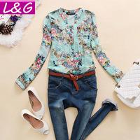 New 2014 Fashion Women Blouses Hot Selling Flower Print Blusas Femininas Summer Chiffon Shirt Tops for Women Clothing Sale 40030