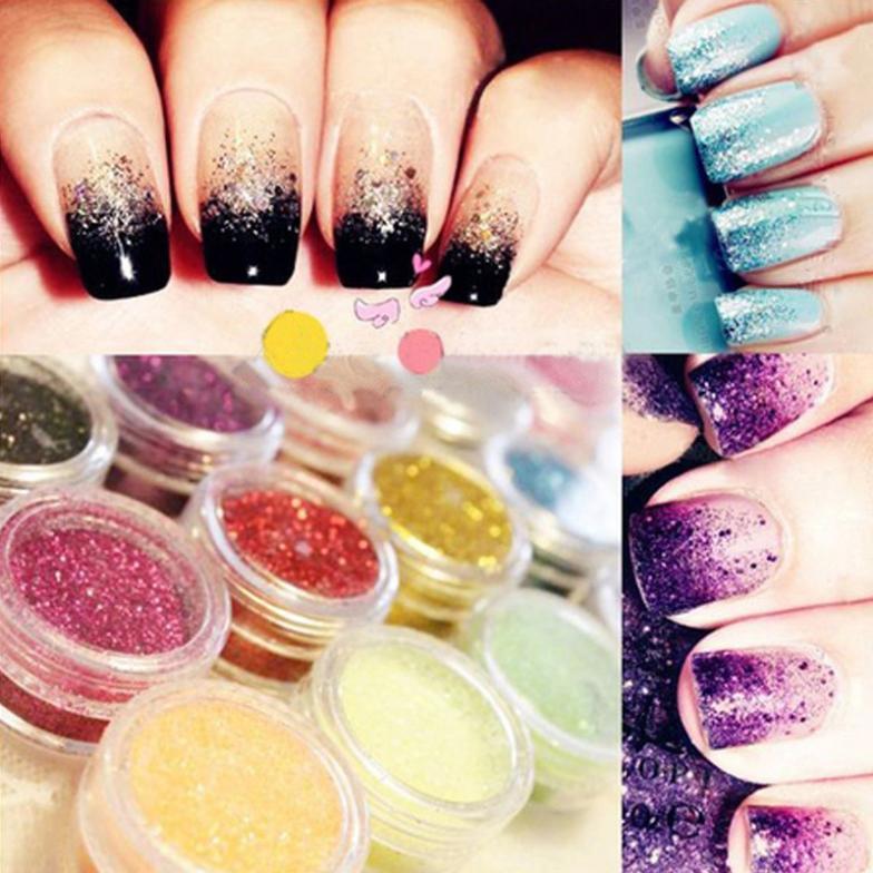 12 Color Mix UV Gel Glitter Dust Powder Nail Art Tip Decoration DIY Make Up Nail Beauty Decoration(China (Mainland))