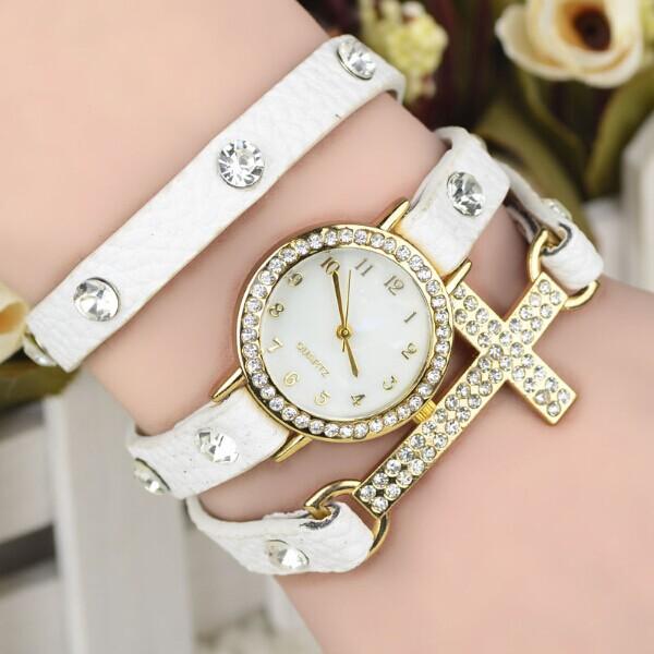 2014 new arrival women dress watch quartz watch with rhinestones, long PU strap, 10 colors Fashion Watches(China (Mainland))