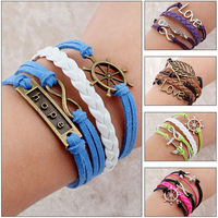 New 2014 Summer Promotion Discount Retro Punk Bradided Wax Cords Infinity Love cross Anchor Owl Hungry Games Charms bracelets