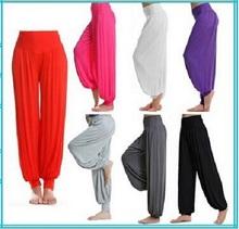 Deportes de cintura alta Mujeres Yoga Harem Solid Pantalón acampanado BellySweatpant cintura elástica Dance Club Boho Amplia Loose Pantalones largos Mujer(China (Mainland))