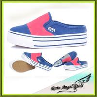 2014 Spring Women Flats  Shallow Mouth Canvas Shoes Candy Color Low Platform Sweet Color Block Platform  Spatilhas Slip On