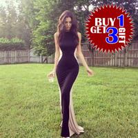 2014 New Women sexy bodycon color block nude long Nasty Gal Ashley Sky Dark Silhouette Maxi Dress wholesale XS-XXL
