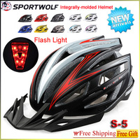 SPORTWOLF LED Laser Flashing Llight Bike Helmet Sports Safety Cycling Helmet 250G/54-61Cm  Eps Bicycle Helmets S-5 Factory Price