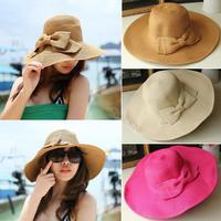 Wholesale Fashion Women Wide Large Brim Floppy Summer Beach Sun Hat Straw Hat Cap With Big Bow SV001848#008