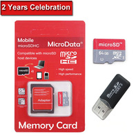 New Memory Card 64GB Micro SD Card Class 10 Flash Card Micro SDHC Microsd TF USB Reader MicroData Hot