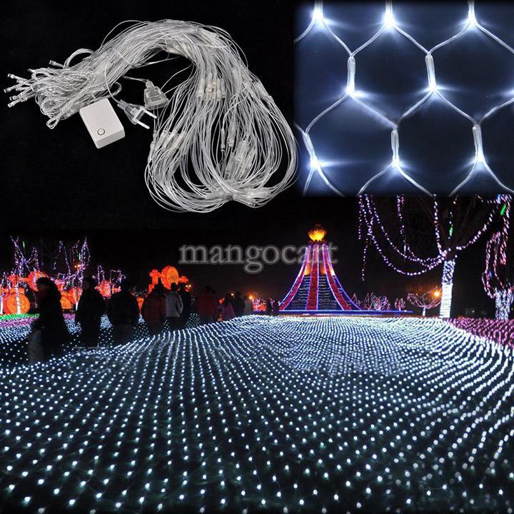 Good Quality!!!White 200 LED Net Mesh Decorative Fairy Lights Twinkle Lighting Christmas Wedding Party US/ 110-240V#7 TK1259(China (Mainland))