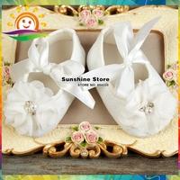 Girl Ivory Baby shoes,shabby flower sapatos infantis meninas,party decoration baptism lace shoes infant girls #2X0123 3 pair/lot