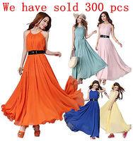 2014 Summer Women Maxi Long Chiffon Sun Beach Ball  Gown  Evening Party Dress