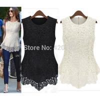 2015 New Desigual Women Lace Blouses Sexy Plus Size Crochet Chiffon Tops Women Blusa Renda Sleeveless Shirts S-XXL