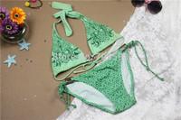 love Bikini Sets Women's Swimwear Swimsuit  Padded ush Up Triangle Ties At Neck Ruched Cups Double String Bottom Beachwear