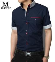 High Quality Brand 2015 Hot Casual Men Dress Shirts Fashion Button Designer Slim Fit Men's Blouses Short-sleeve Social Shirt