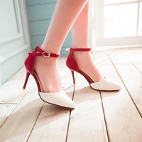 New 2014 years  fine pointed toe high heels women pump Red bottom sole package elegant cocktail party shoes lace ankle