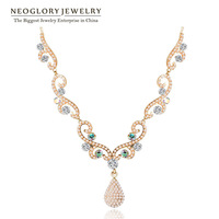 Neoglory Austria Rhinestone 14K Gold Plated Pearl Bib Chain Pendant Necklace For Women Vintage New 2014 Hot