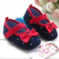 Elegant sapato bebe menina navy blue dot red lines princess shoes baby girls shoes
