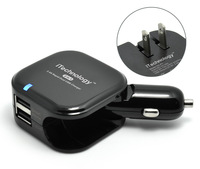 5pcs/lot  Black All-in-One Car DC+Home Wall Travel Charger AC Power Adaper with Dual Charging  2USB Ports Portable US  Charger