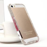 2014 New Luxury Bling DIY Handmade Diamond Crystal Gradient Hard Bumper Frame Cases Cover For Apple iphone 4 4G 4S 5 5G 5S Shell