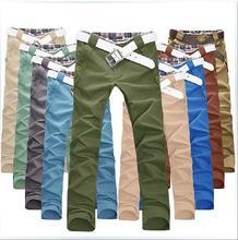 Men pants 2014 Autumn new Men's Cotton cargo Straight Slim Fit Casual Long pants men Designed pants male 10 colors 4 size  ss01(China (Mainland))