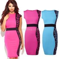 New Fashion Women Noble Seleb O-neck Sleeveless Knee-length Stretch Slim Bodycon Party Maxi Print Dresses B11 SV001987