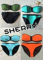 2014 swimwear Women's  New Arrival sexy Neoprene SWIMSUIT Set, push up bikini set