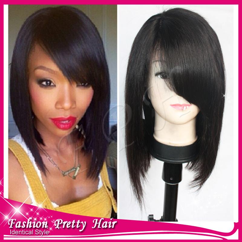 ... Bob Wigs With Bangs Short Human Hair Bob Wigs For Black Women-in Wigs