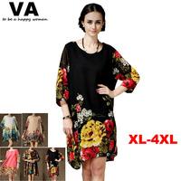 Women Summer Dress 2014 Casual Vestidos Plus Size Women chiffon black dress XXXL XXL Women's Vestido trendy clothing With Belt