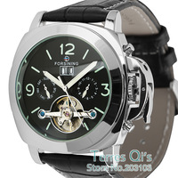 FORSINING Men's Luxury Man Auto Mechanical Black Date Luminous Hands Mens Wrist Watch Free Ship with Gift Box