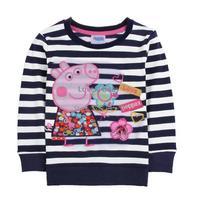 Retail One Pc! DropShipping 2014 New Fashion Kids Clothes Baby Peppa Pig Clothing Girls Cartoon Striped T Shirt B11 SV004473