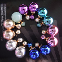 New 13colors 2014 hot fashion 16mm shinning double bead faux pearl designer stud earrings for women boucles perles wholesale