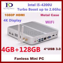 High Configuration 4GB RAM+120GB SSD Mini PC, Nettop Computer Intel i5-4200U Dual Core, 1920*1080, WiFi, 4*USB 3.0, 4K, Blue-ray(China (Mainland))