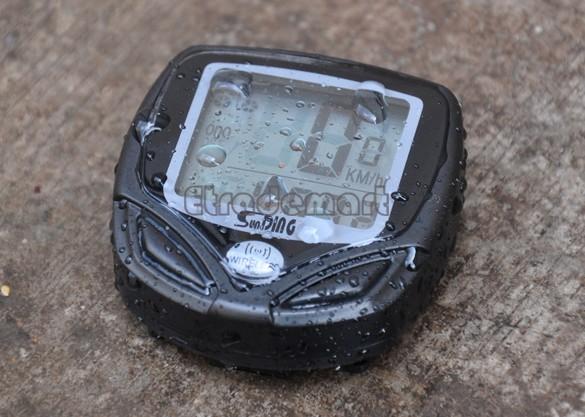 Waterproof Bicycle Bike Cycle Wireless LCD Digital Computer Speedometer Odometer Green Backlight B2 SV003368(China (Mainland))