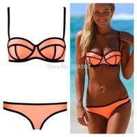On Sale 2014 New Summer Sexy Neoprene Swimwears MILLY Neoprene Bikinis Woman Swimsuit Set Push Up Bikini Set S-XL BK88