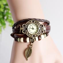 Promotion girls leather strap leaf casual women vintage watch stainless steel analog round dial bracelet wristwatch quartz watch(China (Mainland))