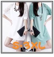2014 brand new fashion women sexy dress black white party dress short sleeve elegant mini lace dress plus size free shipping