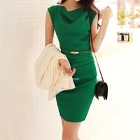 New Womens Summer Cowl Neck OL Slim Elegant Office Dress Sleeveless Bandage Lady dress With Belt B11 SV003971