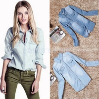 Hot Women's Slim Fitted Long Sleeve turndown collar Jeans Denim Shirt Blouse 2 Colors 4 Sizes Free Shipping B6 SV005166