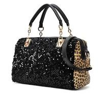 Woman PU Leather Black & Leopard Print Tassels Handbags Casual Shoulder Bag Sequined Bag,1795